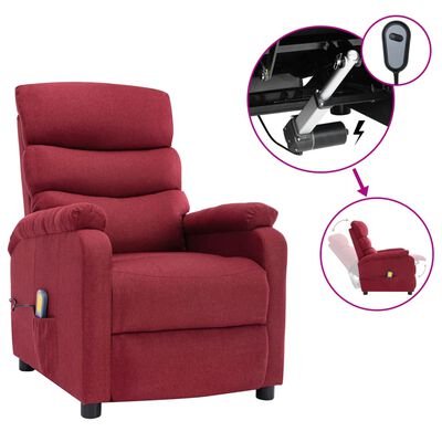 vidaXL Elektrisk massagefåtölj vinröd tyg