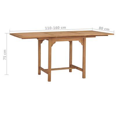 vidaXL Trädgårdsbord utdragbart (110-160)x80x75cm massiv teak