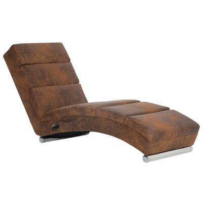 vidaXL Massageschäslong brun konstmocka