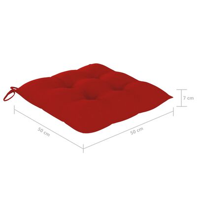 vidaXL Stolsdynor 4 st röd 50x50x7 cm tyg