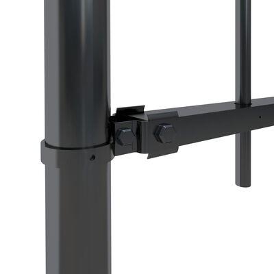 vidaXL Trädgårdsstaket med böjd topp stål 10,2x0,8 m svart