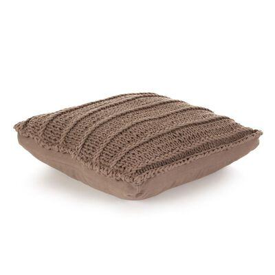 vidaXL Golvkudde fyrkantig stickad bomull 60x60 cm brun, Brown