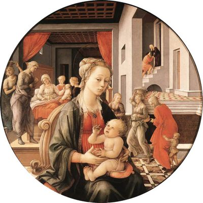 Madonna and Son with histories of the,Fra Filippo Lippi,50x50cm