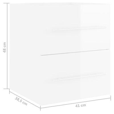 vidaXL Tvättställsskåp vit högglans 41x38,5x48 cm spånskiva