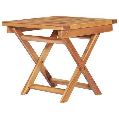 vidaXL Solsäng med bord och dyna massiv teak