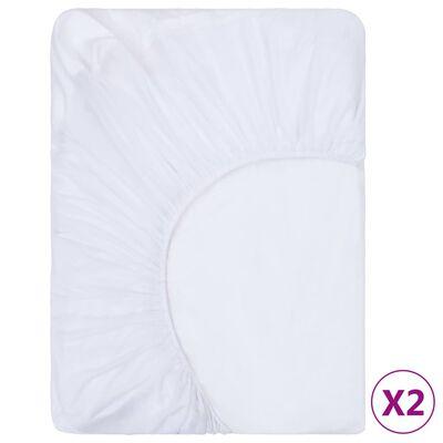 vidaXL Dra-på-lakan 2 st vattentäta bomull 70x140 cm vit