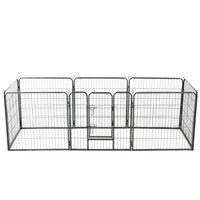 vidaXL Hundhage 8 paneler stål 80x80 cm svart