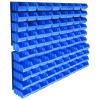 vidaXL Sortimentlådsats 96 st med väggpaneler blå