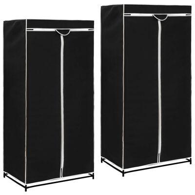 vidaXL Garderober 2 st svart 75x50x160 cm