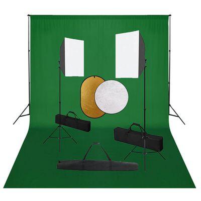 vidaXL Fotostudio med softbox-lampor, bakgrund och reflexskärm