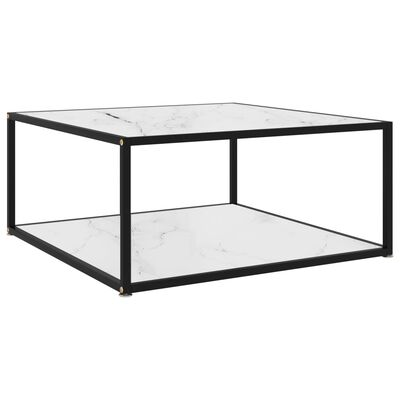 vidaXL Soffbord vit 80x80x35 cm härdat glas
