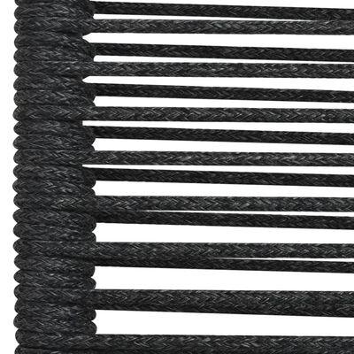 vidaXL Matgrupp för trädgården 9 delar bomullsrep och stål svart