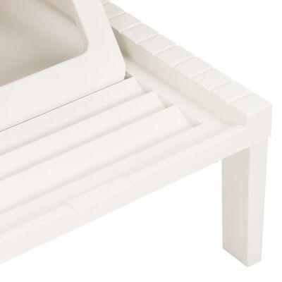 vidaXL Solsäng med dyna plast vit