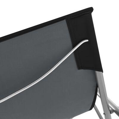 vidaXL Hopfällbara strandstolar 2 st stål och oxfordtyg svart