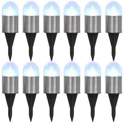 vidaXL Marklampor soldrivna 12 st LED vit,