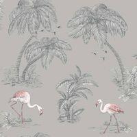 DUTCH WALLCOVERINGS Tapet flamingo grå