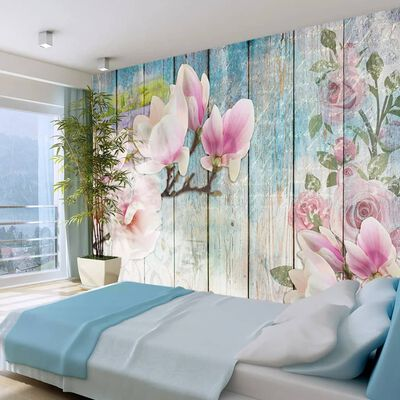 Fototapet - Pink Flowers On Wood - 300x210 Cm