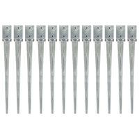 vidaXL Jordspett 12 st silver 9x9x90 cm galvaniserat stål