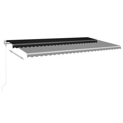 vidaXL Markis med LED manuellt infällbar 6x3,5 m antracit