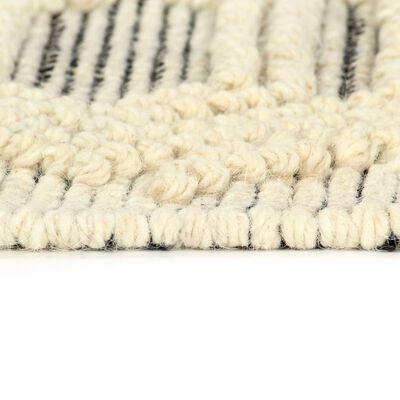 vidaXL Matta handvävd ull 140x200 cm vit/svart