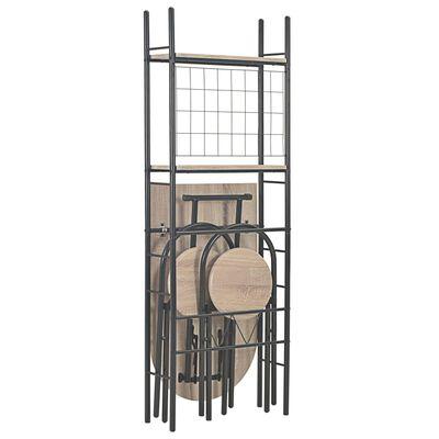 vidaXL Hopfällbar matgrupp 3 delar med hylla MDF och stål