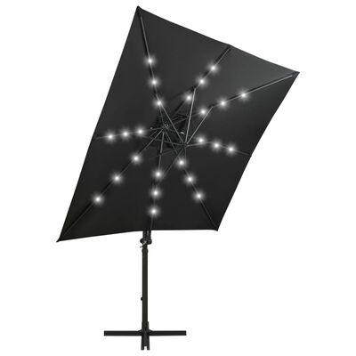 vidaXL Frihängande parasoll med stång och LED svart 250 cm