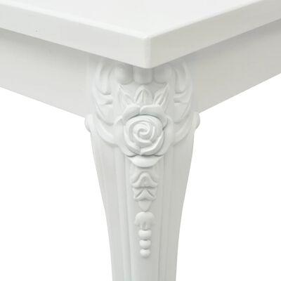 vidaXL Matbord 116x66x76 cm vit högglans
