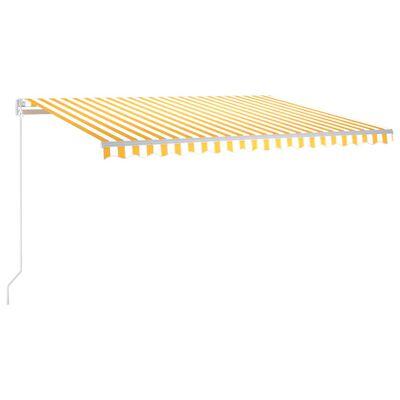 vidaXL Markis manuellt infällbar 450x300 cm gul och vit