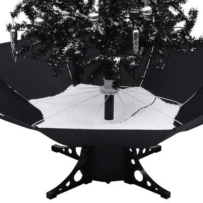 vidaXL Julgran med snö och paraplybas svart 170 cm PVC