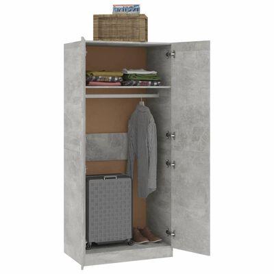 vidaXL Garderob betonggrå 80x52x180 cm spånskiva