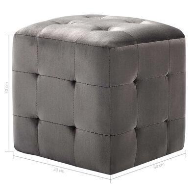 vidaXL Sängbord 2 st grå 30x30x30 cm sammetstyg
