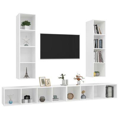 vidaXL Väggmonterade tv-skåp 4 st vit spånskiva