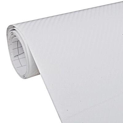 vidaXL Vinylfolie för bilar i kolfiber 3D 152 x 200 cm vit