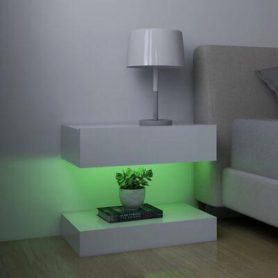 vidaXL Sängbord LED 2 st vit 60x35 cm spånskiva