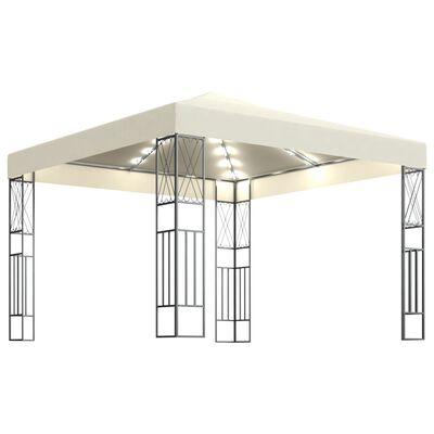 vidaXL Paviljong med ljusslinga LED 3x3 m gräddvit tyg