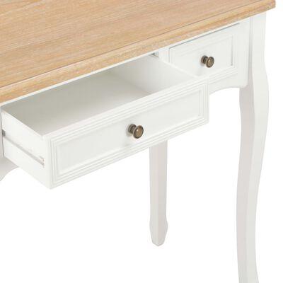 vidaXL Avlastningsbord med 3 lådor vit