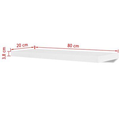 2 Flytande vägghyllor i MDF 80x20x3,8 cm vit