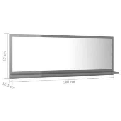 vidaXL Badrumsspegel grå högglans 100x10,5x37 cm spånskiva