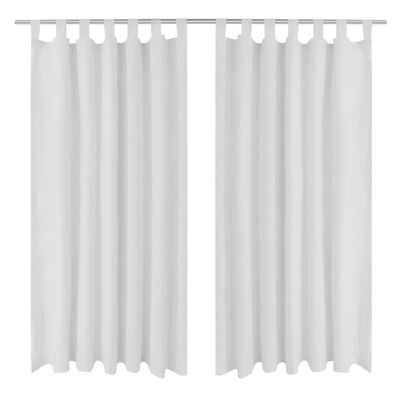 2-pack gardiner med öglor i vit microsatin 140 x 245 cm