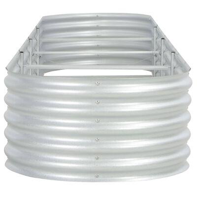 vidaXL Odlingslåda upphöjd galvaniserat stål 400x80x44 cm silver