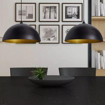 vidaXL Taklampa 2 st höjdjusterbar halvrund svart