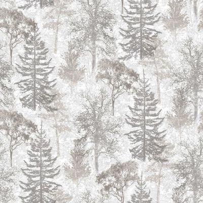 Evergreen Tapet Trees vit och grå