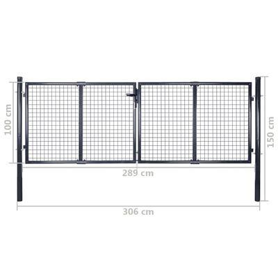 vidaXL Nätgrind för trädgård galvaniserat stål 289x100 cm grå