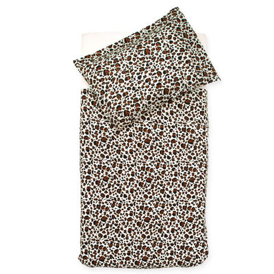 Jollein Påslakan och örngott leopard 100x140 cm brun