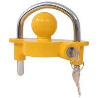 vidaXL Släpvagnslås med 2 nycklar stål och aluminiumlegering gul