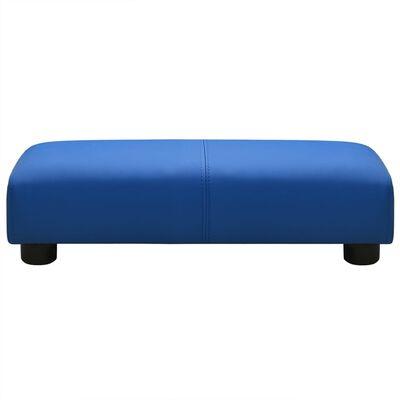 vidaXL Barnsoffa med pall blå konstläder