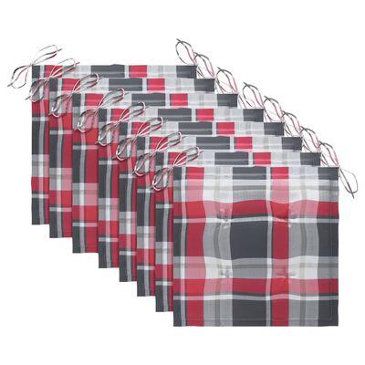 vidaXL Matstolar med rödrutiga dynor 8 st massiv teak
