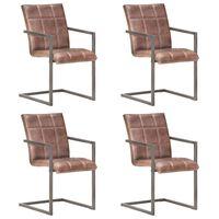 vidaXL Fribärande matstolar 4 st brun nött äkta läder
