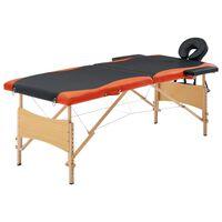 vidaXL Hopfällbar massagebänk 2 sektioner trä svart och orange
