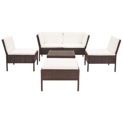 vidaXL Loungegrupp för trädgården med dynor 6 delar konstrotting brun